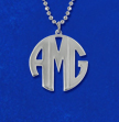Personalized Sterling Silver Print Style Monogram Necklace