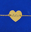 Sterling Silver 18k Gold Plated Engraved Heart Couples Bracelet