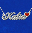 Sterling Silver Name Necklace with Color Charm