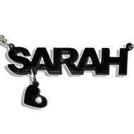 L.A. Style Vinyl Crush Name Necklace with your choice of charm