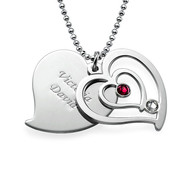 Personalized Couples Birthstone Heart Necklace
