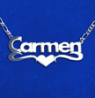 Double Thickness Silver Block Print Heart Name Necklace
