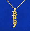Vertical Design 14k Gold Name Necklace