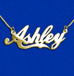 "Personalized 18k Gold-Plated Silver ""Coca Cola"" Font Name Necklace"