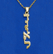 Vertical 14k Gold Hebrew Print Name Necklace