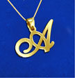 18k Gold-Plated Silver Alphabet Initials Pendant with Your Choice of Letter