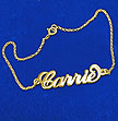 "18K Gold-Plated Sterling Silver ""Carrie"" Style Name Bracelet / Anklet"