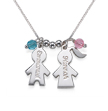 Engraved Kids Charms Necklace with Birthstones