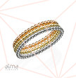 Dotted Eternity Rings Set Silver & Gold Filled - 3 Bands - Size S