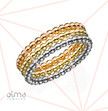 Dotted Eternity Rings Set Silver & Gold Filled - 3 Bands - Size M